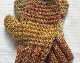 Hand knit variegated autumn colors wool acrylic mittens