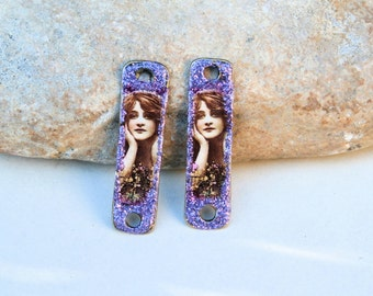 2 charms pendants supply for jewel creation -  portraits retro vintage purple romantic woman - 3,5cm connector for earrings