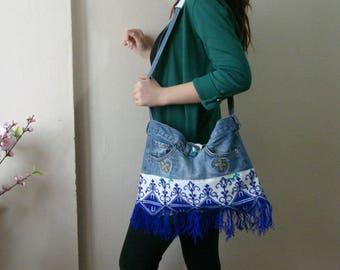 Fringe Denim bag, Boho Fringe Purse, Denim Tote handbag, Boho Shoulder bag Jeans purse,Tote bag