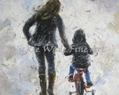 Mother and Son Art Print, first bike ride, mom, boy, aunt, nephew, boys room, wall art, mom, black, navy prints, impressionist, Vickie Wade