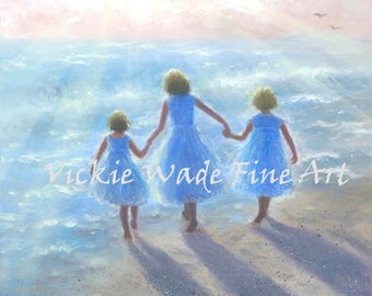 Three Beach Girls Art Print, three sisters on beach, walking on beach, beach prints, beach paintings,   Vickie Wade art