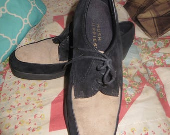 vINTAGE WOMENS 2 tone brown black suede leather laceup Hush Puppies oxfords sz 7.5