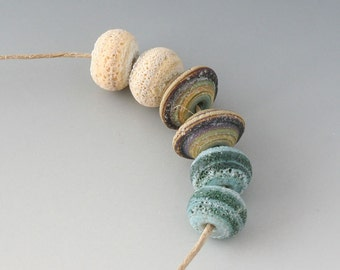 Rustic Gems- (6) Handmade Lampwork Beads - Green, Cream