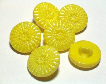 Vintage Yellow Glass Buttons Aurora Borelis Lustre Fab Buttons 19mm Set Sewing Buttons