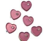 Vintage Hearts Cabochons Glass Amethyst Chaton Rhinestone Hearts 7x8mm Crystal Rhinestones Violet. #1197