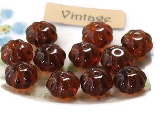 Vintage Glass Beads, Amber Melon beads, Czech glass beads, amber Spacers, 6x8mm beads, saucer beads, Flowers Floral Brown NOS (1673GS)