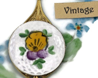 Vintage Enamel Pendant Guilloche Johnny Jump Up Floral Rose Hand Painted Flower Shabby chic Filigree. #1099C
