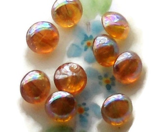 Vintage Glass Buttons,Self Shank,Antique iridescent buttons,OLD Amber AB Yellow 8mm Round NOS #944