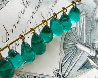 Vintage Teal Glass Drops, Glass Charms, Teardrops, Drop Dangles, Green Beads, Aqua marine beads, half drilled beads, #1715