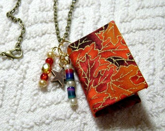 Book Necklace - Book Jewelry - Book Pendant - Book Journal - Handmade Book - Leaves On Fabric - BN-150