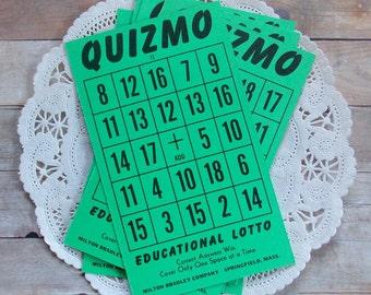 Vintage Green Quizmo Cards / Lot of 5 / Vintage Ephemera / Planner Supply