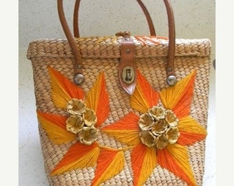20% OFF SALE vintage. 60s Natural Woven Tote  // Retro Glam 60s