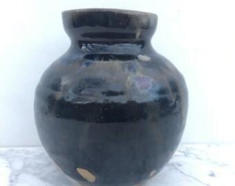 Black Vase, Stoneware Vessel, Wabi Sabi Pottery, Round Jar Centerpiece Pot