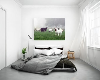 Large Premium Gallery Canvas of Goats in a Foggy Pasture RESERVED for Indira