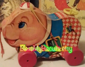 Vintage Fisher Price Pull Toy Peter Pig