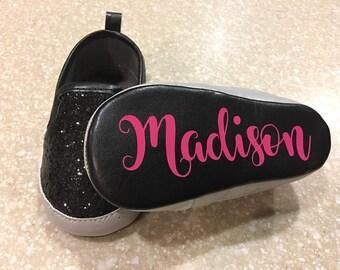 Personalized Black Sparkle Shoes/ Party Shoes/Bling Shoes