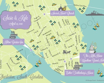 Custom Beach Wedding Map, Wedding Map Invitation, Desitnation Wedding --Sample for Charleston (same design but choose your city/location)