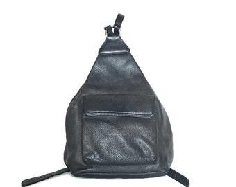 Vintage Leather  Backpack, Black Leather Bag, Leather Daypack
