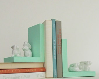home decor - handcrafted bookends - Bunnies on mint green