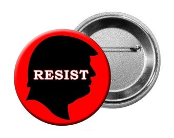 """Anti-Trump Pins or Magnets - 6 Different """"Anti-Trump"""" Designs Choose various quantities of L Buttons, L Magnets, or Small Buttons"""