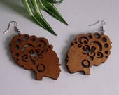 Natural Hair Jewelry Curly Girl Wood Earrings African Lady Wooden Earring Brown Wooden Earrings Brown Stained Wooden Earrings