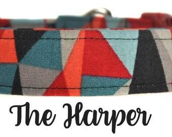 """Multicolored Geometric Dog Collar """"The Harper"""""""