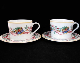 Block Spal China Whimsy Christmas Cups & Saucers (2 Sets) Made In Portugal 1992
