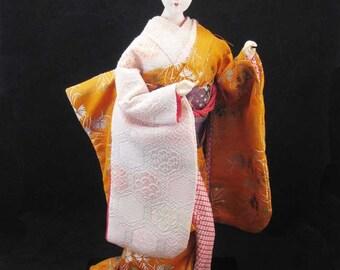 Vintage Japanese Kyugetsu Yamaha Geshia Doll Gofun Eyes Orange Silk Kimono