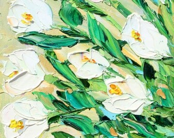 Spring Tulips painting original oil 6x6 palette knife impressionism on canvas fine art by Karen Tarlton
