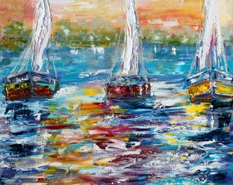 Sunrise Sailing painting original palette knife impressionism on canvas fine art by Karen Tarlton