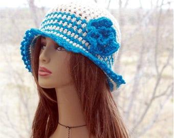 Crochet Womens Hat, Summer  hat, flapper  hat, sun hat, brim hat, womens  brim  hat, bucket hat, roll up brim, summer hat,  womens hats