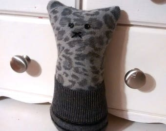 Pocket critter, FREE U.S. shipping, black, dots, gray, cashmere, wool, recycled,  tooth fairy pillow, animal pillow, kids pillow