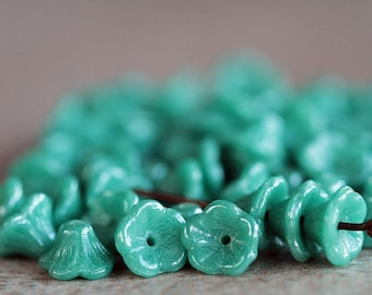 Turquoise Bell Flower Czech Glass Beads, Baby Bell Flower Beads, Lustered opaque turquoise, 5x8mm (50pcs) NEW