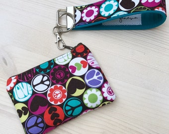 Peace & Love Blue Tooth Coin Pouch Wristlet - Brown and Teal - Peace Signs - Coin Purse - Key Fob