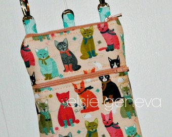 Made to Order Twill Cats Linen Twill Phone Case Wristlet Shoulder Strap iPhone 6 Plus Samsung Note Peach Pink Aqua Grey Black Leather