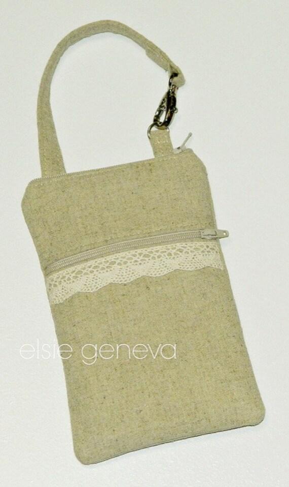 Linen & Lace Phone Case Natural Burlap Japanese Zipper Closure with Wristlet  Optional Shoulder Strap iPhone 5 6 Plus Samsung Ready to Ship