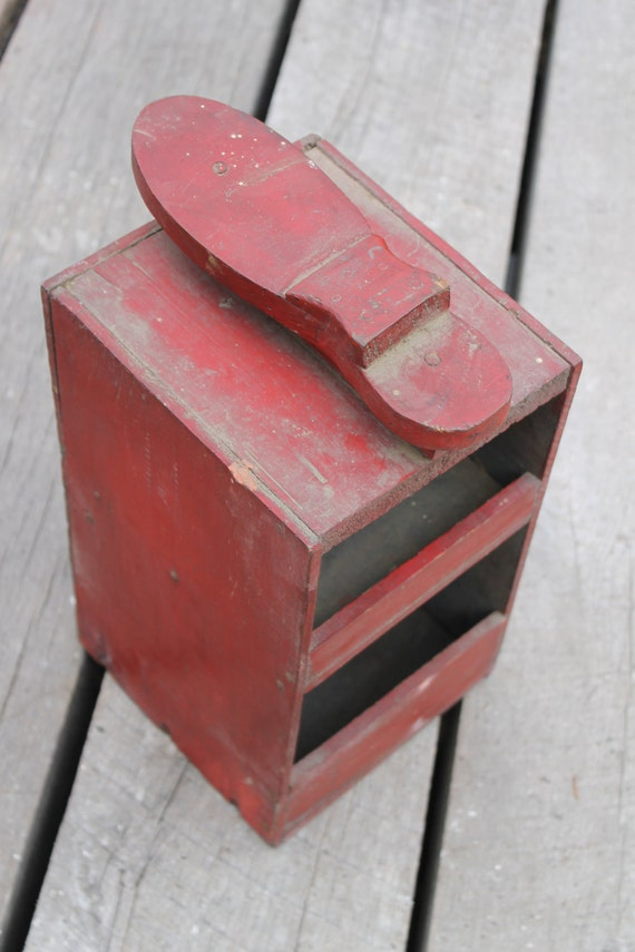 antique primitive wooden shoe shine box, chippy red paint