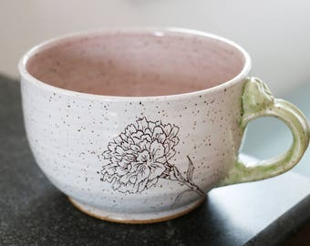 Sweet Carnation Cappuccino / wide latte style cup- ready to ship