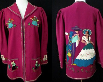 "Awesome 1940's Mexican Tourist Jacket with Hand Appliqué Images by the famous "" Berty of Mexico"" VLV Rockabilly Vintage Western size Medium"