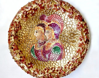 Hand Painted Gold Roman Faux Mosaic Decorative Plate, Rome Italy Pottery, Roman Soldier Gladiator, Signed Lavorato A Mano In Oro Zecchino