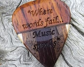 Multi-Wood Guitar Pick - Premium Quality - Handmade - Actual Pick Shown - Laser Engraved Both Sides - Made With 5 Different Woods