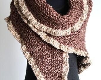 Cocoa Dark Taupe Color Texture Acrylic Yarn Light Cream Beige Ruffles Chunky Wrap Shawl Stole