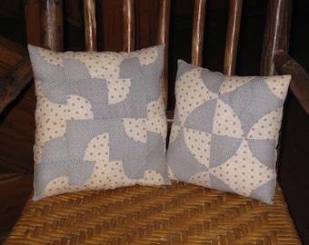 2 Antique Quilt Pillows Set Early Fabrics Antique Sugar Sack Blue White Calico Cotton Blocks Drunkards Path Farmhouse Cottage Decor
