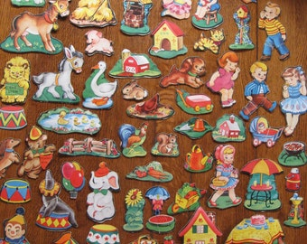 Vintage Story Board 58 Shapes Fifties Childrens Game Paper Ephemera Repurpose Mixed Media Craft Supply