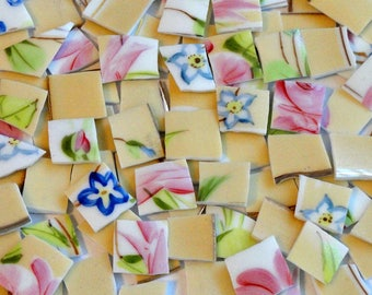 115 Yellow and Pink Vintage China Mosaic Tiles // Broken China//Mosaic Art Tiles//Mosaic Supplies