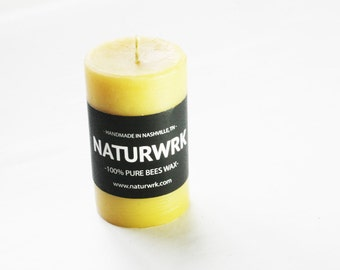 Beeswax Candle - 3in Pillar candle, pure beeswax - beeswax candles - save the bees - pure beeswax - home decor