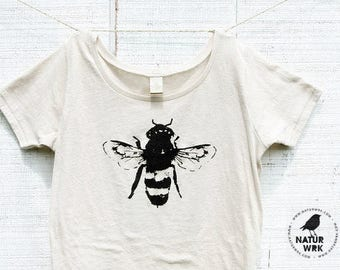 Bee Shirt -Womens - Bamboo - Organic Cotton -  Honey Bee - Organic shirt - Small, Medium, Large, XL, 2XL- Clothing -Tshirt