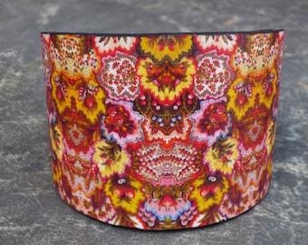 SALE Vintage fabric polymer clay cuff