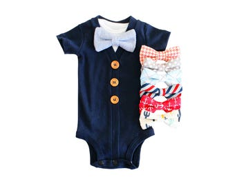Baby boy hospital outfit. Newborn coming home outfit. Baby cardigan bow tie. Baby bowties. Navy.