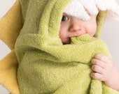 PERSONALIZED Green Dinosaur Hooded Towel